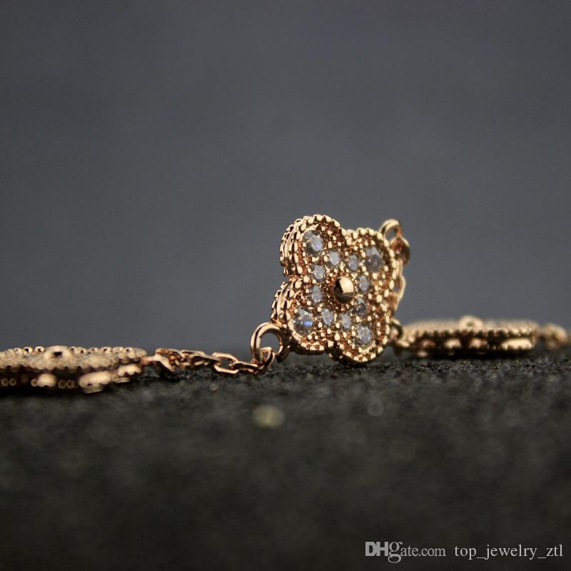 Braccialetti con diamanti donna di alta qualità Donna Charms Fiori 14k Bracciale in oro Gioielli per San Valentino