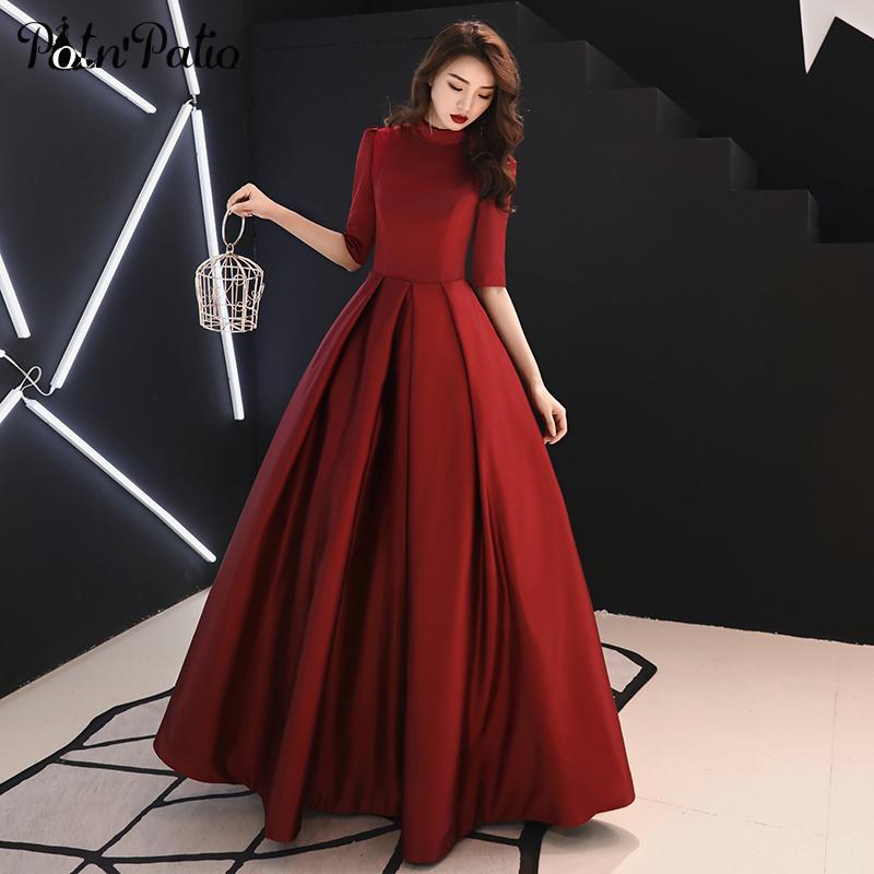 O-collo elegante abito di sfera Abiti da sera lungo 2019 Vino Rosso Satin plus size musulmani abiti da cerimonia per le donne