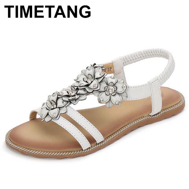 Vacanze TIMETANGClassic estate delle donne sandalias Flats sandali fiore strass Infradito vacanze beachshoes Donne FootwearE485 CX200613