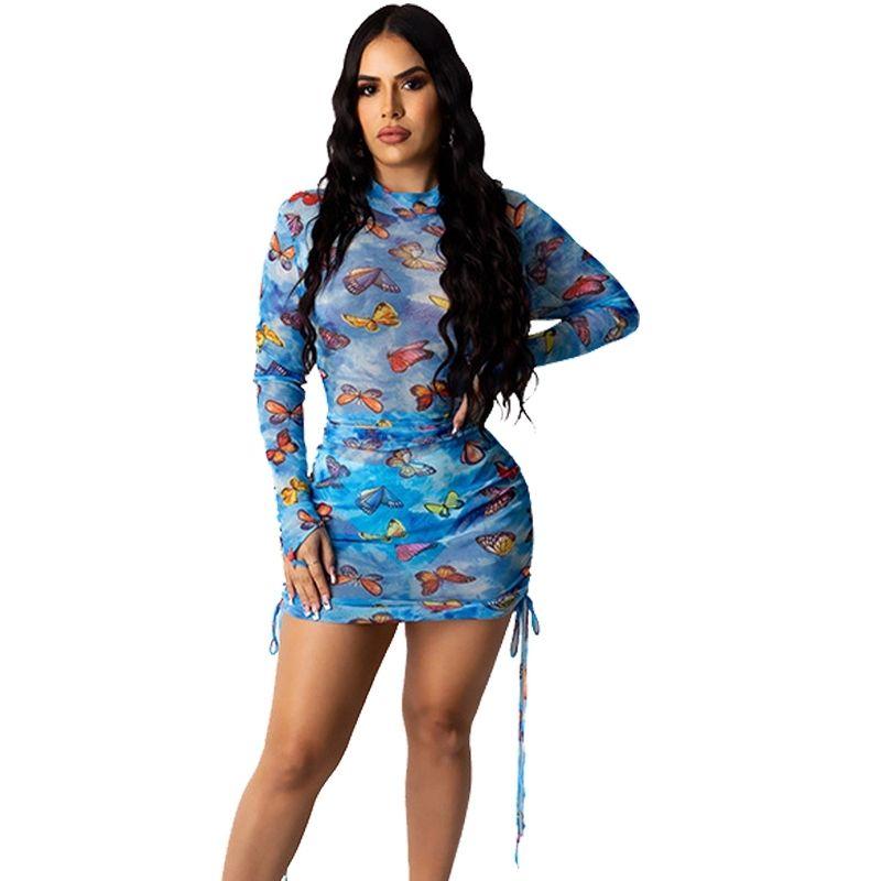 Short Sexy Party Dress Women 2020 Butterfly Print Long Sleeve Mesh Sheer Dress Elegant Mini Bodycon Club Dress Drop Shipping T200522