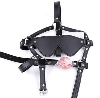 Faux Leather Ball Gag Blindfold Mask Harness Eye patch Restraint Bondage UA94 AU097