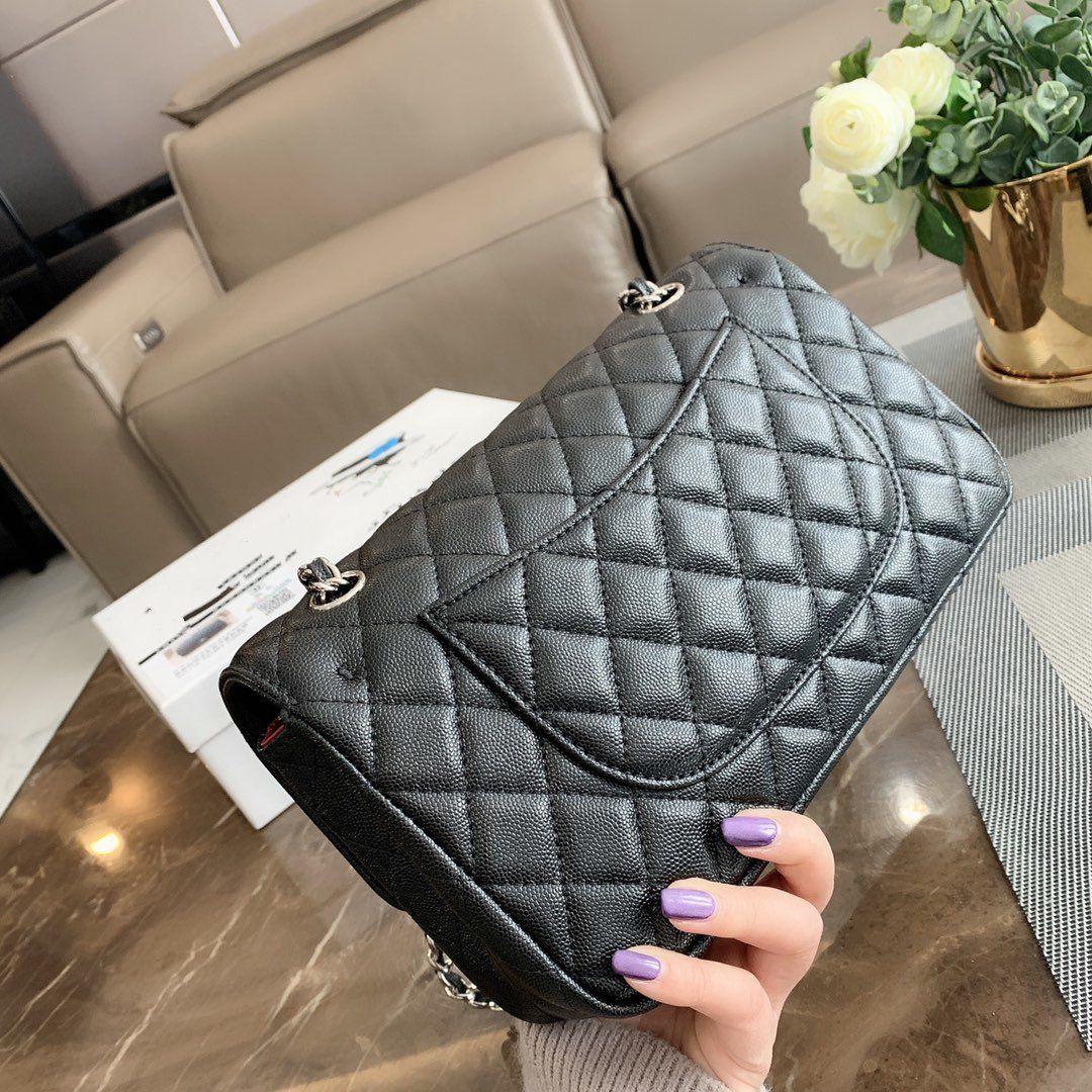 Gift Box Classic Handbag Grained Calfskin Silver Tone Flap Bags Shoulder Bag high quality tradingbear