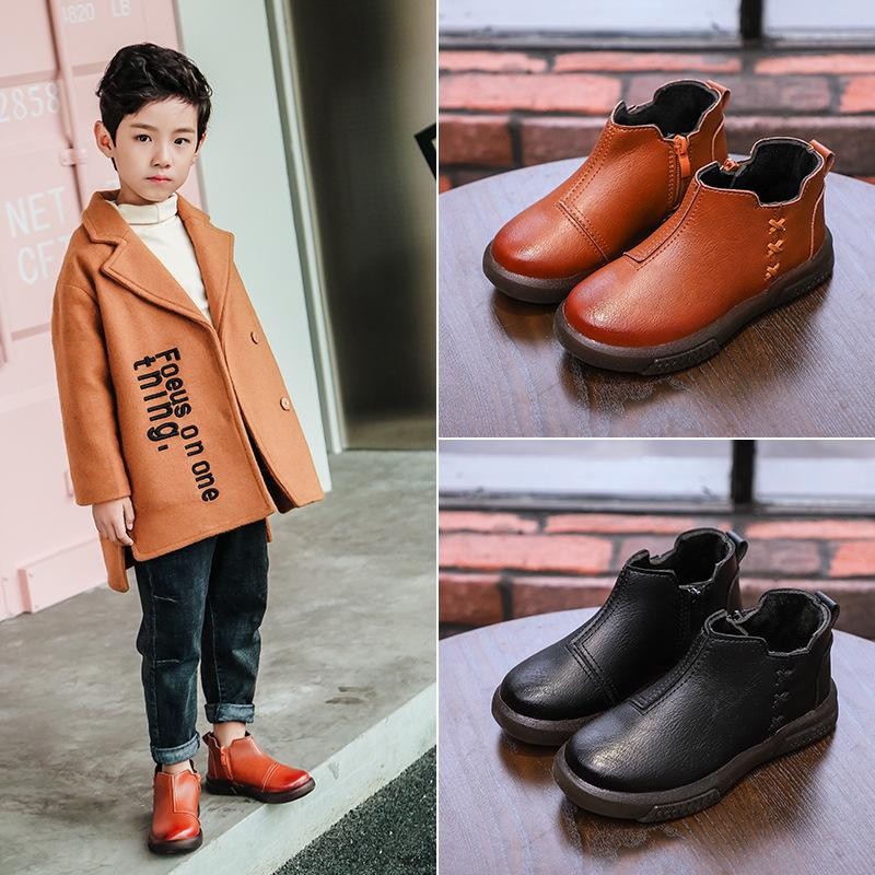 Wholesale 2018 Autumn and Winter New Children's Martin Boots Boys Soft Leather Boots Warm Waterproof Children's Boots Soft Bottom