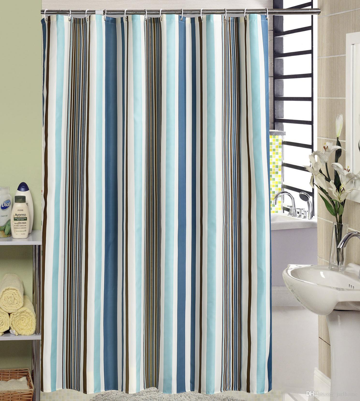 2019 Jarl Home Wholesale Blue White Striped Shower Curtains With Hooks Bathroom Waterproof Polyester Fabric Shower Curtain With Grommets From