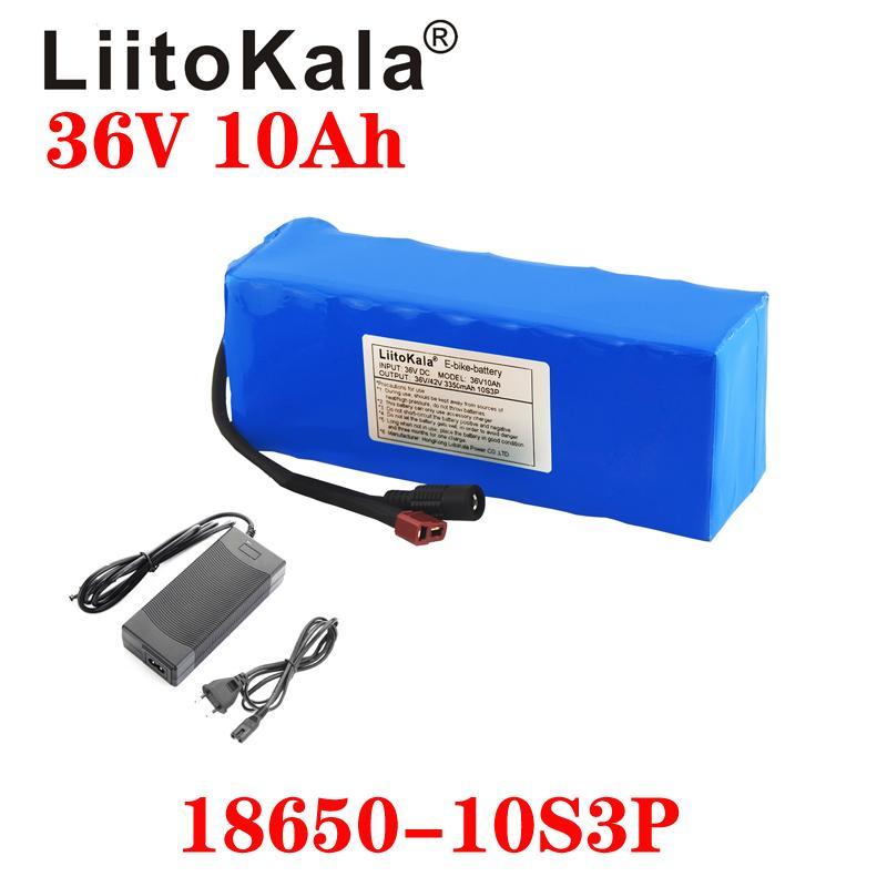 Liitokala 36 V 10Ah 10S3P 18650 batteria ricaricabile, biciclette modificate, caricabatterie per veicoli elettrico Li-LON + caricabatterie 36V 2A