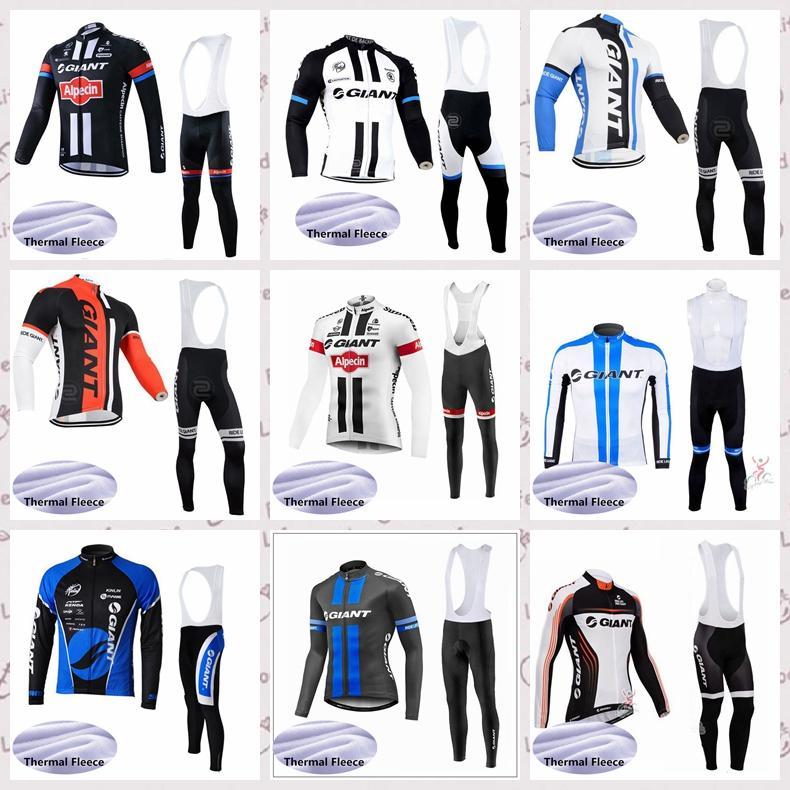 Squadra GIGANTE maniche lunghe Inverno CICLA Jersey i pantaloni set MTB caldi all'aperto sportivo E61523