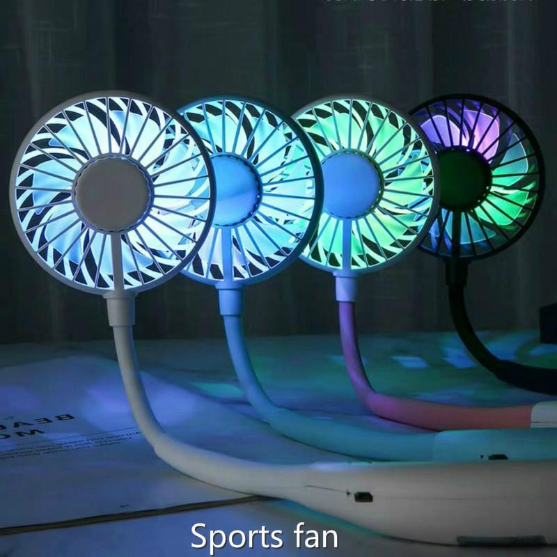Recargable de doble ventilador de manos libres cuello de la venda de manos libres colgantes USB mini refrigerador de aire de verano portátiles aficionados 2000mA Deportes Uso 4-6h F0029