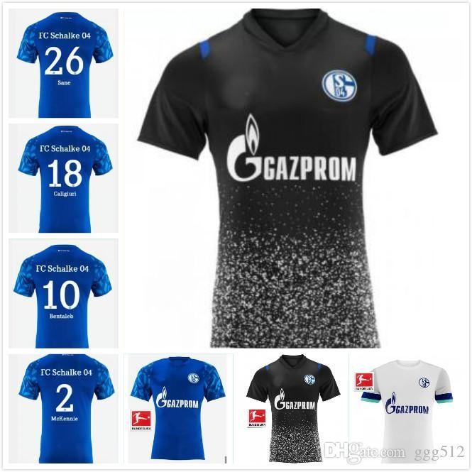 2019 Schalke blu domestico di calcio Jersey 19/20 Schalke 04 camice da Calcio 2019 # 7 Uth # 8 Serdar # 10 # 18 Bentaled Caligiuri del calcio Jersey