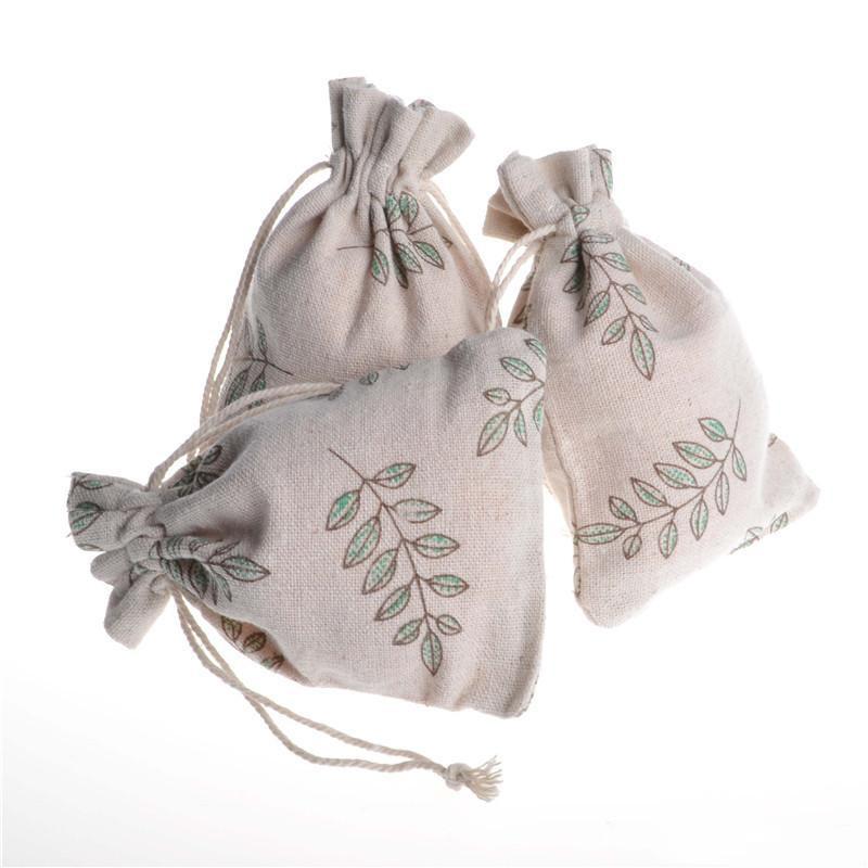 Olive Leaf Motif Cadeaux Sacs à cordonnet Lin Coton cotillons Emballage Sac Pouches pour Candy Coffee Bean 10x14cm