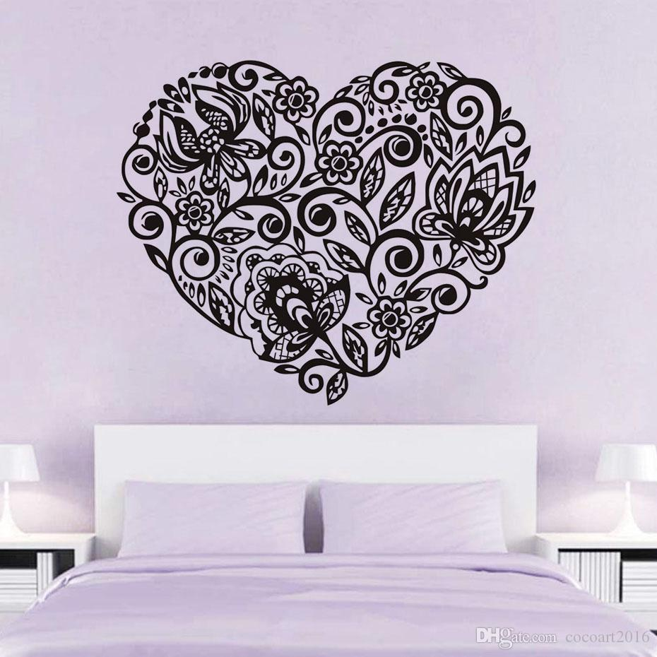 1 Pcs Heart Shape Flowers Pattern Wall Sticker Decals Valentine Adhesive Pvc Wall Paper Girls Women Couples Bedroom Wedding Room Decor