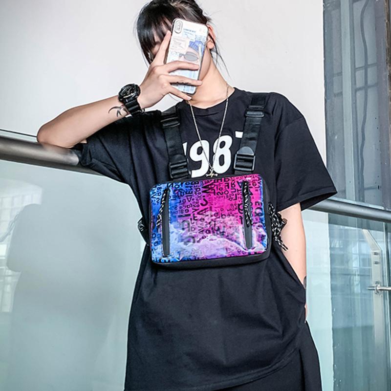 Los hombres Hip-Hop pecho bolsa de Streetwear del chaleco del pecho del aparejo Bolsas manera de las mujeres cintura táctica bolsa de gran capacidad funcional riñonera HW799