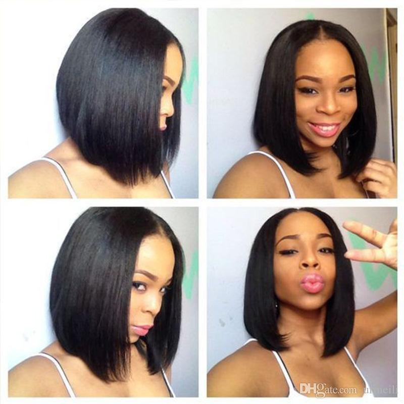 13*4 Lace Front Human Hair Bob Wigs for Women Natural Look Black/Brown Short Wigs Brazilian Straight Remy Hair Blunt Cut Wig