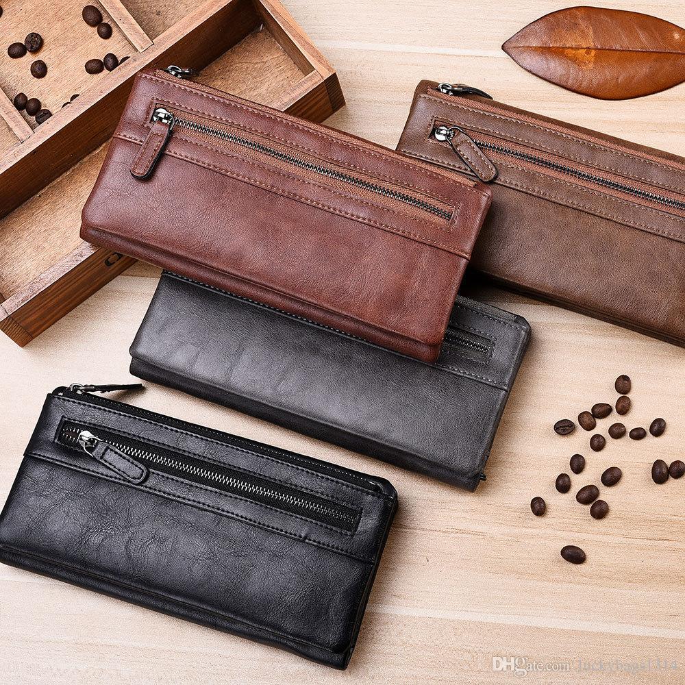 2019 новый дизайнерский кошелек мужской длинный мужской кошелек молния европейский и американский тренд молодежный мягкий кожаный зажим
