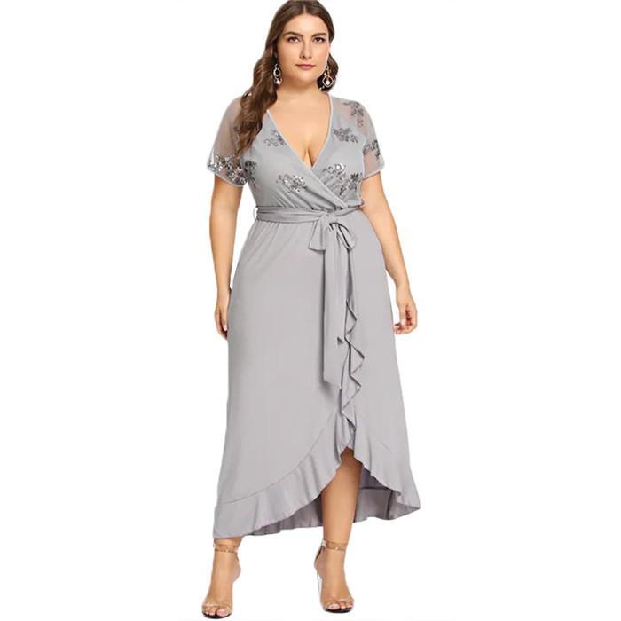 Yaz Kadın Tasarımcı Günlük Elbise V Yaka Kısa Kollu Düzensiz Bel Tie Moda Artı boyutu Elbise