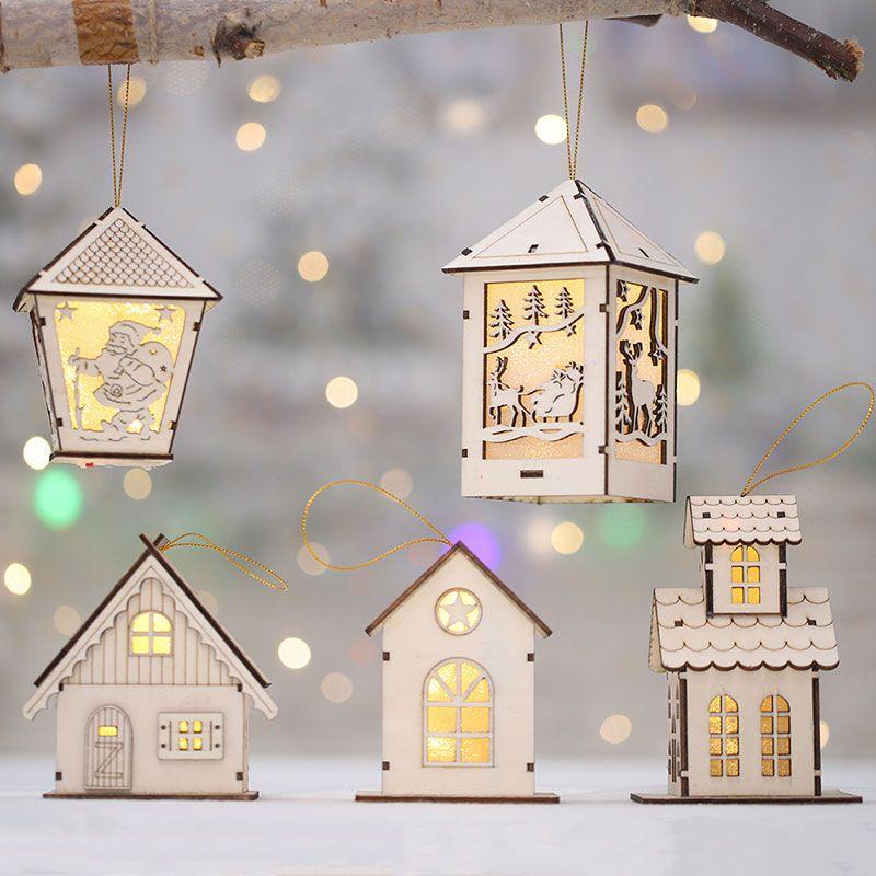 Festival Led Light Wood House Albero di Natale decorazioni per la casa ornamenti d'attaccatura di vacanze Nizza regalo di natale sposa Navidad