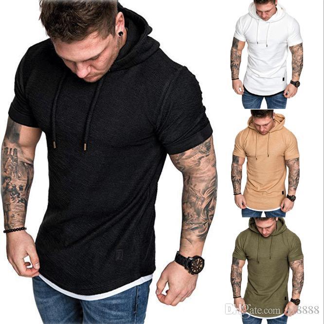 Moda Masculina Slim Fit Capuz sólido com capuz de manga curta Casual T-Shirt Tops