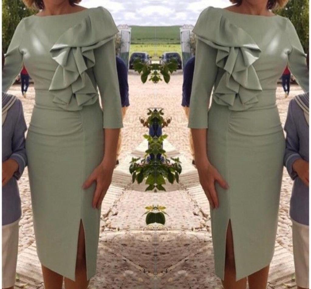 Semplice Madre corta della Sposa Abiti 2020 ginocchio lunghezza 3/4 maniche Ruffles vestido de madrinha farsali abiti mamma fessura del lato