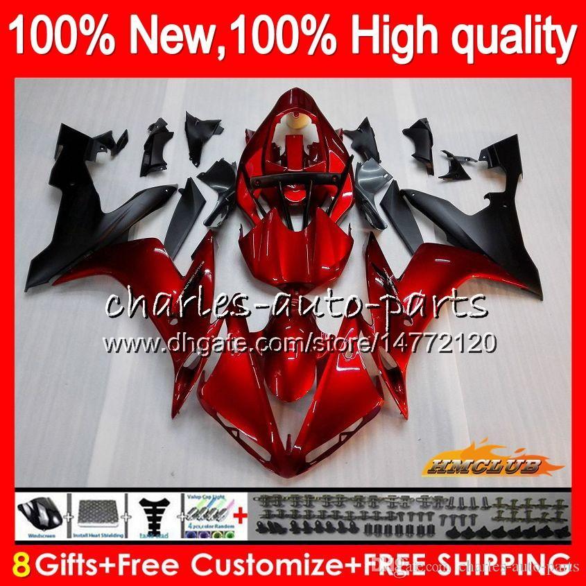 Ciało dla Yamaha YZF R 1 1000 CC YZF-1000 YZFR1 04 05 06 63HC.0 YZF1000 1000CC YZF R1 04-06 YZF-R1 2004 2005 2006 Wróżki Zestaw błyszczący czerwony blk