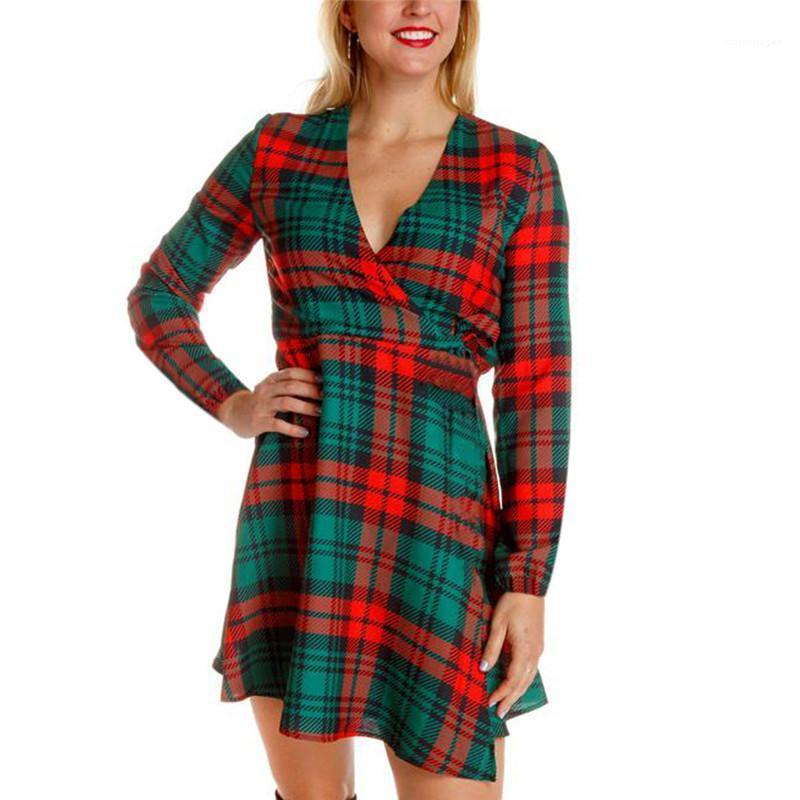 Abiti autunno e l'inverno collo di modo V manica lunga veste delle donne di Natale Abiti di Natale Donne Designer