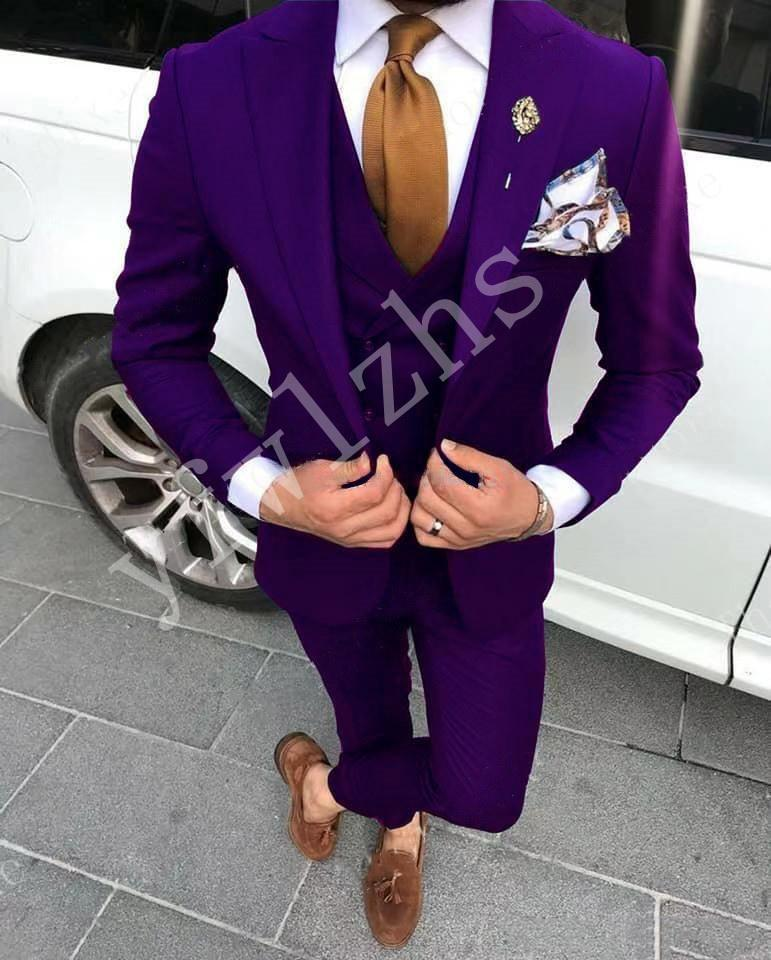 Custom-made Peak Lapel Groomsmen One Button Groom Tuxedos Men Suits Wedding/Prom/Dinner Best Man Blazer(Jacket+Pants+Tie+Vest) W189