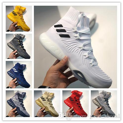 2020 Уиггинс Мужчины Баскетбол обувь Сумасшедших Взрывное Primeknit Кристалл белый след Хаки вяжет для наилучшего качества Mens спорта кроссовок