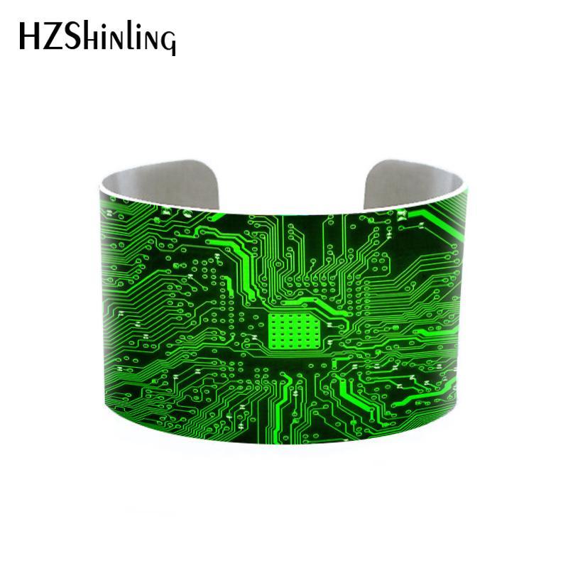 2018 Trendy Circuit Board Cuff Computer Circuit Geekery Cuffs Computer Geek Adjustable Metal Bangle Printed Photo Bracelet