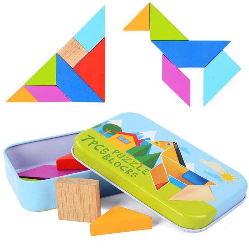 7 Pcs Clássico Tangram Forma De Madeira Enigma De Madeira Jigsaw Puzzle Kit Crianças Brinquedos Educativos Presente Com Caixa De Ferro Colorido