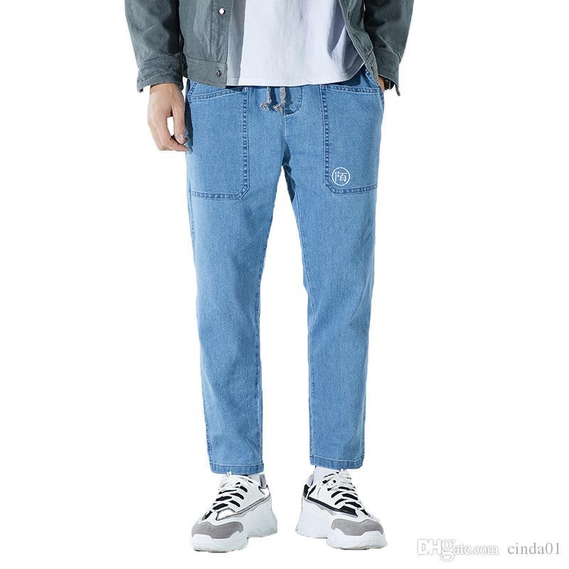 Mens Jeans beiläufige Art und Weise Denim-Hosen Chinese Druck Retro-elastische Taillen-Hose mit weitem Bein lose Glatt Schwarz Blau M-3XL