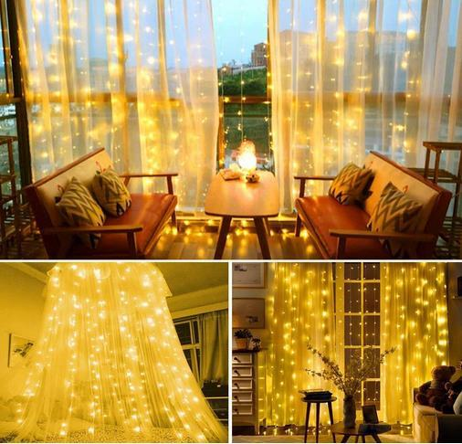 Curtain Lights LEDs Warm White Window String Fairy Lights USB Powered with 8 Modes Remote Control for Christmas Bedroom Indoor Wedding
