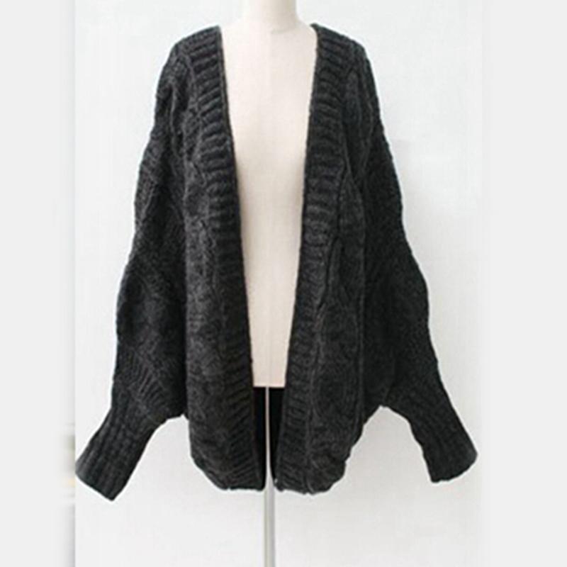 2018 Mulheres Meninas New Moda Casual Sólidos Batwing Cape Poncho Knit Cardigan manga longa camisola Outwear