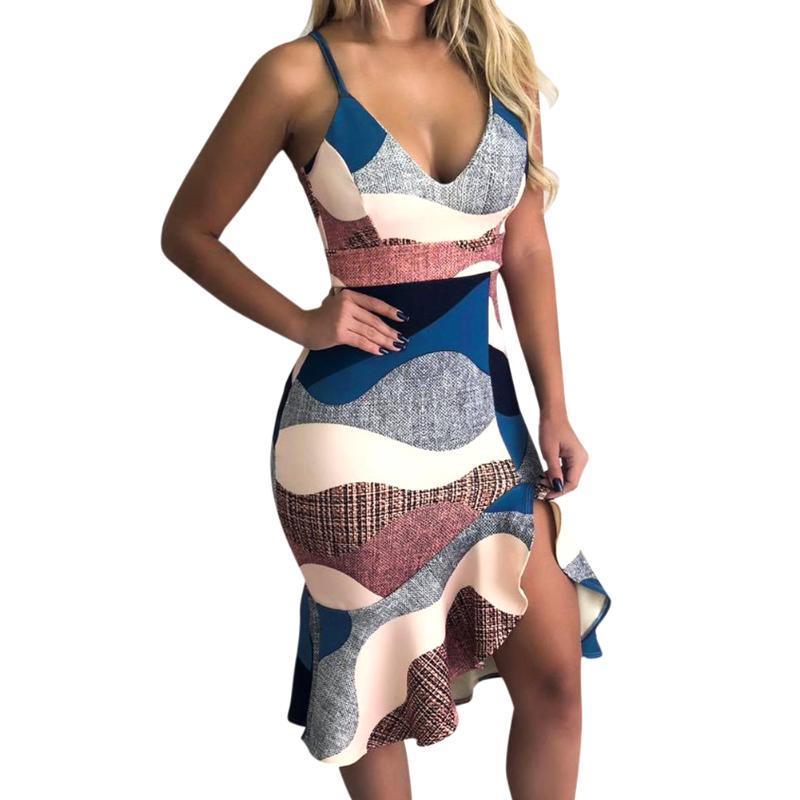 Magro Mulheres cintura vestido de férias Ruffled presente V Neck Sling Correias Partido impresso Enrole Hip diário Irregular Hem Sexy Moda