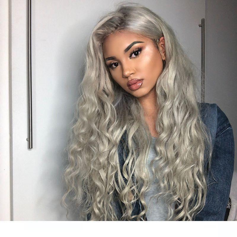 H 8a Grade парик волос Бразильское Glueless полный шнурок парики Серый Объемная волна человеческих волос фронта шнурка париков чернокожих женщин
