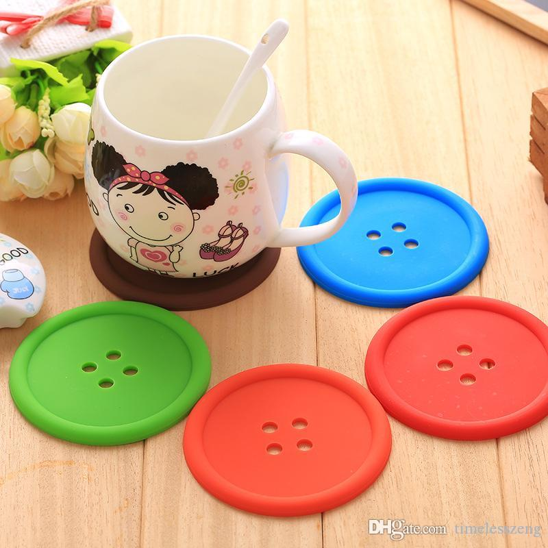 Button coaster Creative button shaped cup pad Heat resistant PVC material coffee tea cup mat Useful kitchen tool