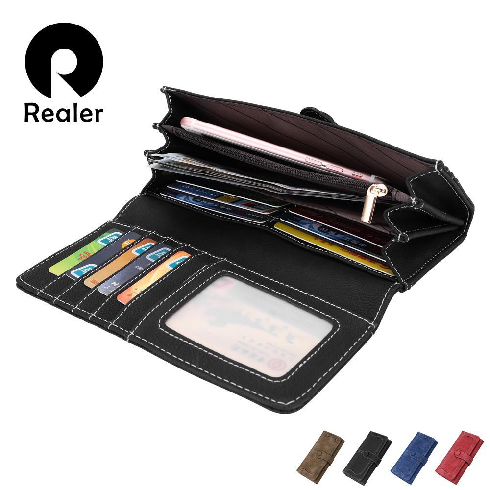 Realer Brand Women's Wallet Long Purse Double Zipper Multi Card Holders Clutch Bag Fold Wallet For Iphone Coin Pocket Y19052302