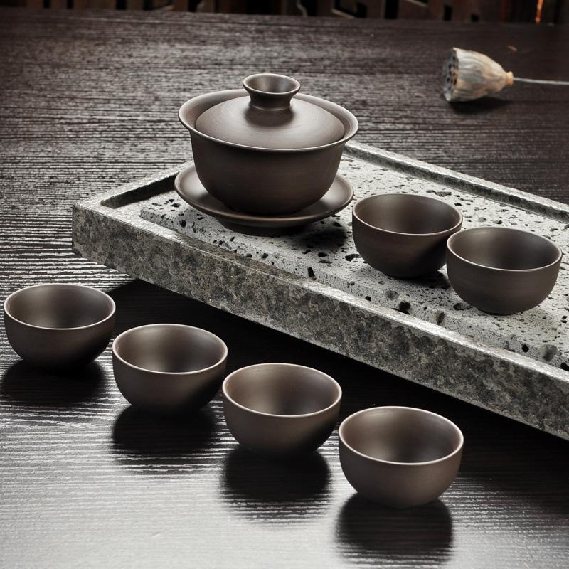 Vendas quentes Yixing Roxo conjunto de chá de areia preto / vermelho de cerâmica kung fu Bule, handmade Roxo bule de areia xícara de chá gaiwan Tureen cerimônia do chá