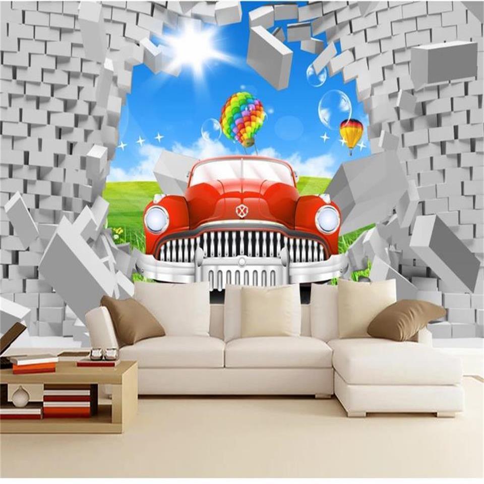Özel 3D Odası Fotoğraf Duvar Kağıdı Duvar Araç Tuğla Duvar Balon 3D Picture Duvar Modern Sanat Yaratıcı Livingroom Otel Çalışması Backdrop Wallpaper