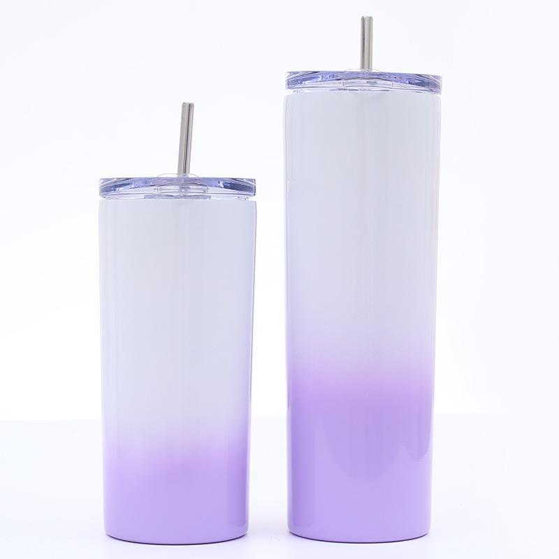 16 온스 20온스 스키니 텀블러 스테인레스 스틸 그라데이션 컵 머그컵 진공 절연 컵 물 커피 잔 스트레이트 컵 GGA2735 병