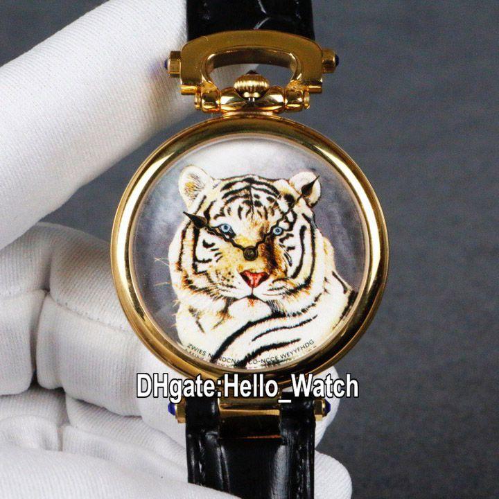 Nueva Bovet Fleurier Amadeo 46mm suizo de cuarzo Reloj oro amarillo de 18 tatuaje de tigre pintado oro marca correa de cuero Relojes Hello_Watch de 6 colores