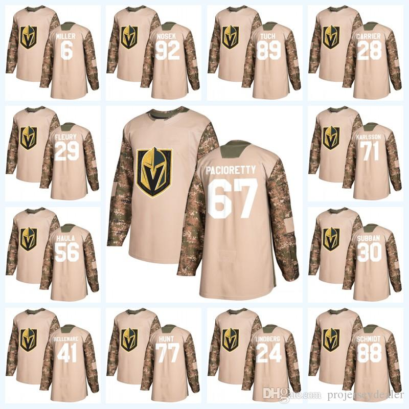67 Max Pacioretty Vegas Golden Knights Camo Veterans Day William Karlsson Reilly Smith Fleury Alex Tuch Ryan Reaves Tomas Nosek Jersey
