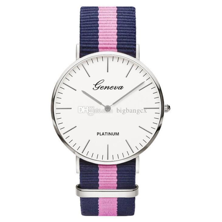 제네바 브랜드 패션 애호가 남성용 시계 큰 다이얼 간단한 나일론 꼰 유니섹스 석영 손목 시계 여성