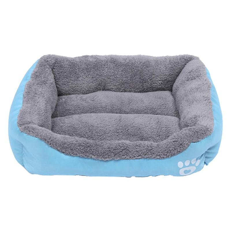 Comfortable Dogs Bed Print Pet Sofa Soft Fleece Warm Dog Bed Waterproof Kennel Cat House Warm Cotton Velvet Oxford Cloth