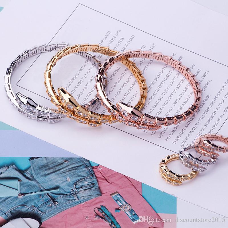 Conjuntos de joyería de marca de moda de lujo Lady Brass Full Diamond Single Wrap Snake Serpenti 18K Gold Open Estrecho Pulseras Conjuntos de anillos (1Sets)