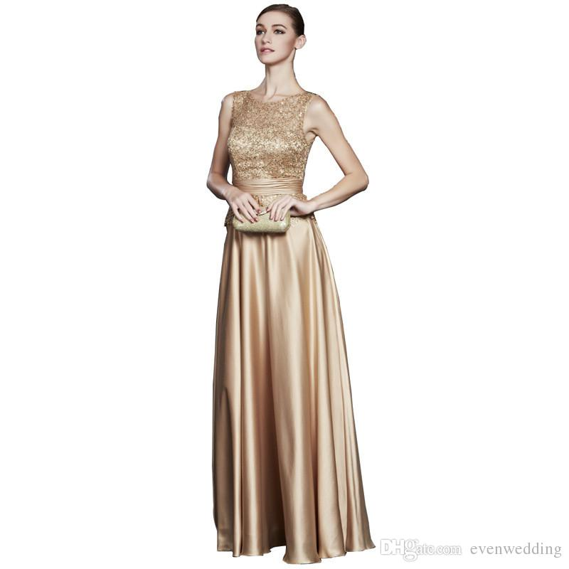 Satin A Line Bridesmaid Dresses Bling