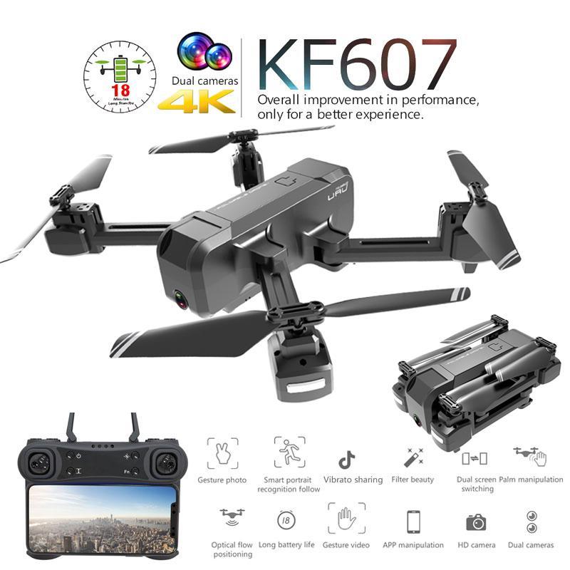 KF607 Profissional مصغرة قابلة للطي بدون طيار مع كاميرا مزدوجة 1080P 4K HD WiFi FPV التدفق البصري RC Quadcopter هليكوبتر لعب مباراة SG106 T200420