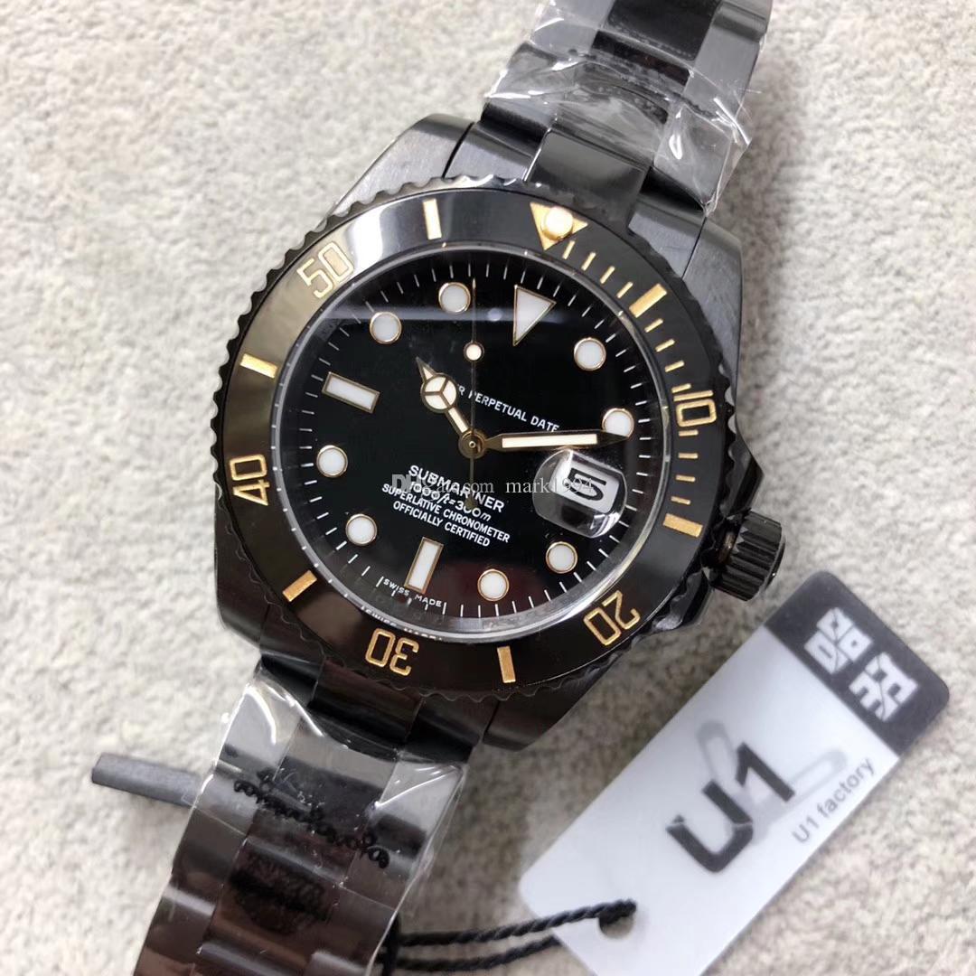U1 مصنع ساعة اليد NEW رجل الفولاذ المقاوم للصدأ PVD السوداء السيراميك الهاتفي 116610 الساعات 40MM الساعات الميكانيكية التلقائية أعلى جودة
