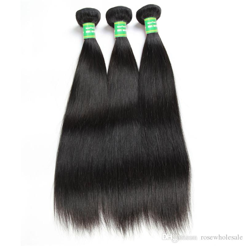 Human Remy Hair Bundles With Closure Tissage Brazilian Straight Virgin Hair Vendors Cuticle Aligned 3 Bundles /Lot 8-28 Inches Black 8a