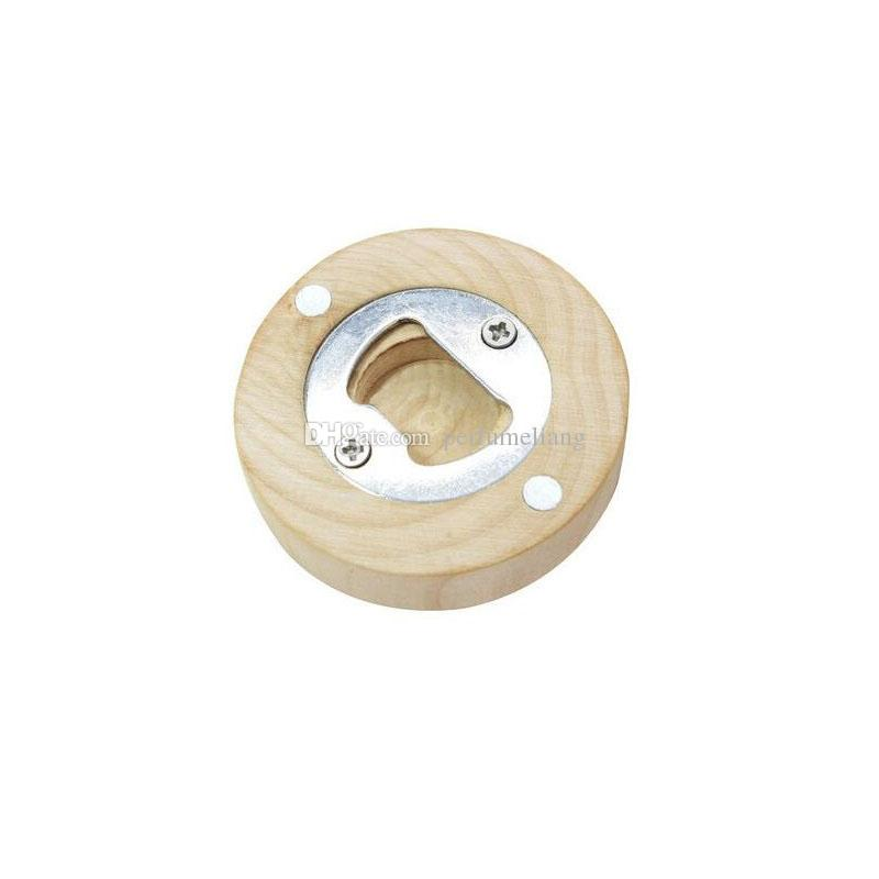 Wooden Round Shape Bottle Opener Coaster Fridge Magnet Decoration Beer Bottle Opener Custom Logo Wholesale QW9880