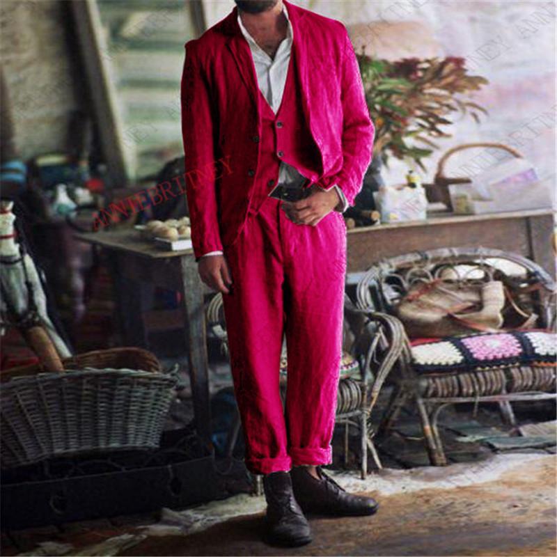 Herrenanzüge Blazers Neueste Sommer Klassische Anzug Männer 3 stücke Rosa Leinen Strand Hochzeit für lässig männlichen Blazer Bräutigam Smoking Jacke Weste Hose