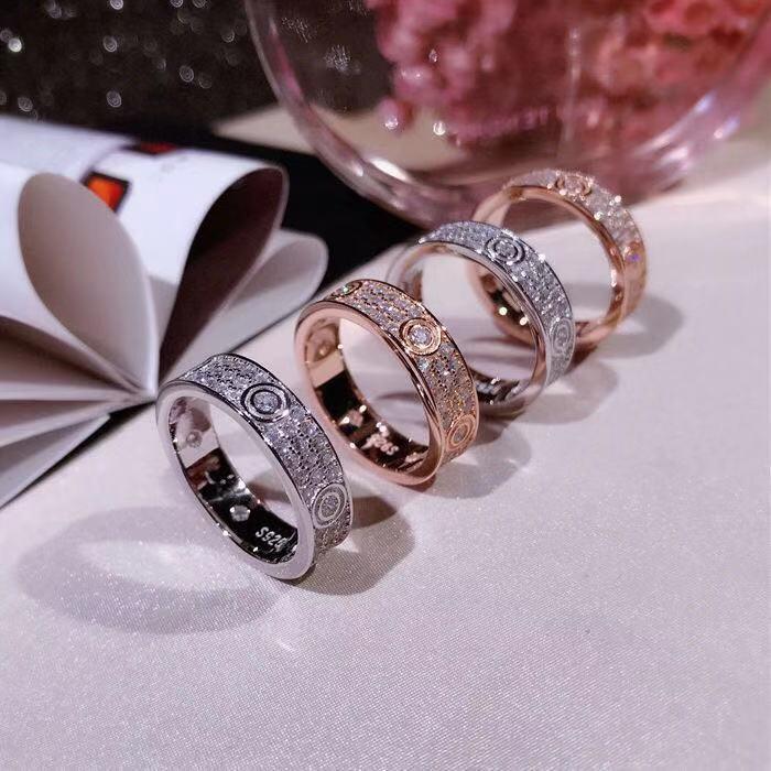 Regalo dei monili di marca di lusso delle donne anello Mens Argento 925 anelli di nozze di lusso di Diamond Rose Gold Engagement