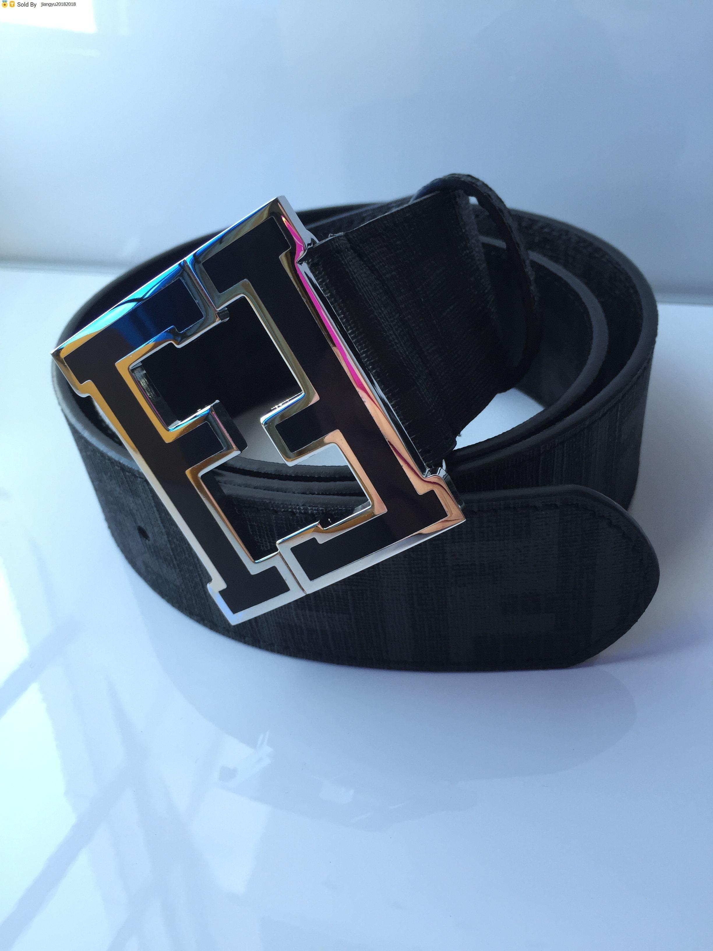 F BELT Real leather includes the serial number box Big buckle Black Reversible Belt White ADJUSTABLE WITH BOX